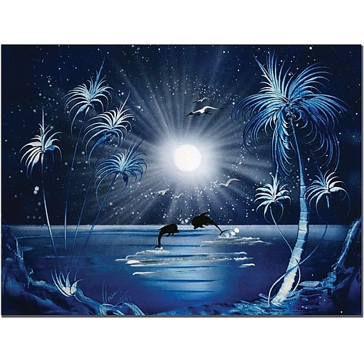 "Trademark Global Conrad ""Dolphins at Night"" Canvas Art, 18"" x 24"""