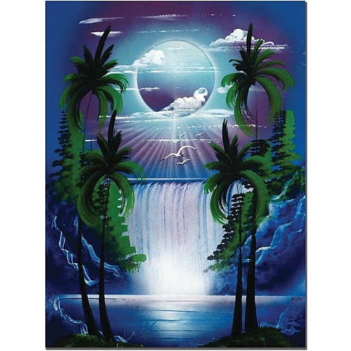 "Trademark Global Conrad ""Moon Over the Waterfall II"" Canvas Art, 24"" x 18"""