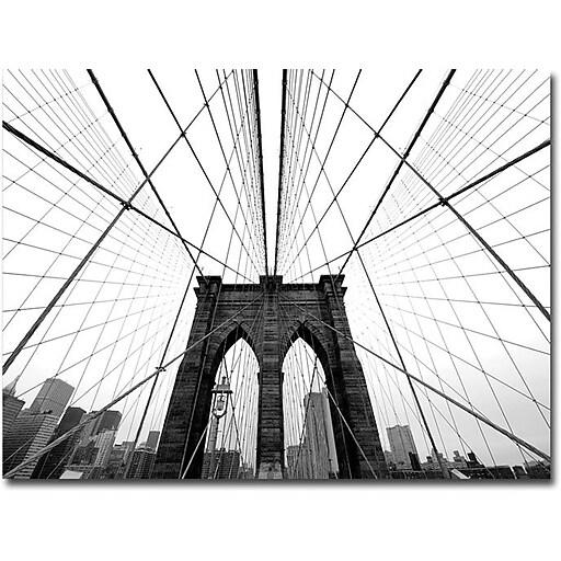"Trademark Global Nina Papiorek ""NYC Brooklyn Bridge"" Canvas Art, 35"" x 47"""