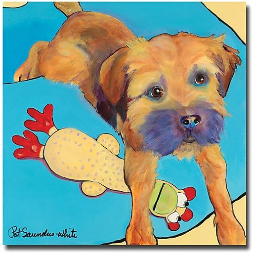"Trademark Global Pat Saunders White ""Favorite Toy"" Canvas Art, 24"" x 24"""