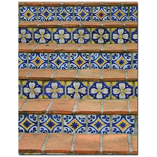 """Trademark Global Patty Tuggle """"Blue and Yellow Tiles"""" Canvas Art, 24"""" x 18"""""""