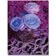 "Trademark Global Patty Tuggle ""Blue and Pink Roses"" Canvas Art, 47"" x 30"""