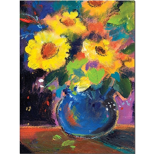 "Trademark Global Sheila Golden ""Blue and Yellow Composition"" Canvas Art, 24"" x 18"""