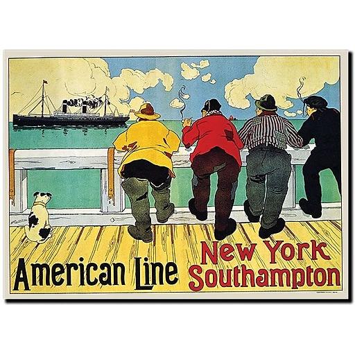 "Trademark Global Henri Cassiers ""American Line New York to Southhampton"" Canvas Art, 18"" x 24"""
