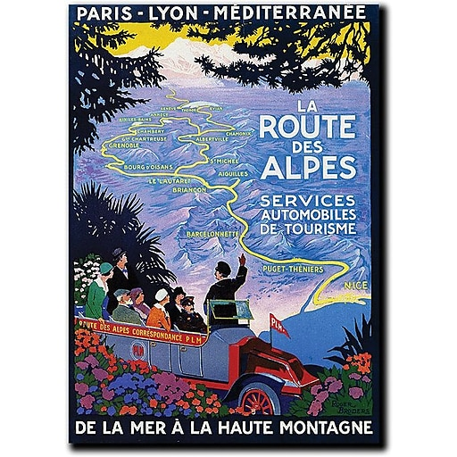 "Trademark Global Roger Broders ""La Route des Alpes"" Canvas Art, 32"" x 24"""