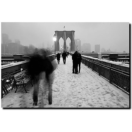 "Trademark Global Yale Gurney ""Love on the Brooklyn Bridge"" Canvas Art, 18"" x 24"""