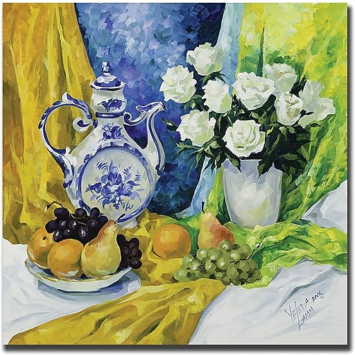 "Trademark Global Yelena Lamm ""Still Life with Blue Teapot"" Canvas Art, 24"" x 24"""