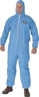 KleenGuard® A65 Hooded Zipper Front Coverall With Elastic Wrists/Ankles, Flame Retardant, Light Blue, XL, 25/Ct