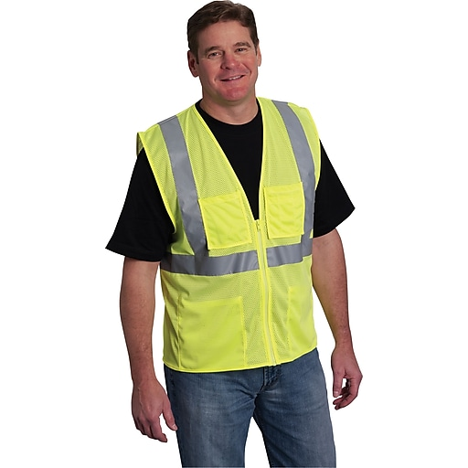 PIP Hi-Vis Safety Vest, ANSI Class 2, Zipper Closure, Yellow, Extra Large