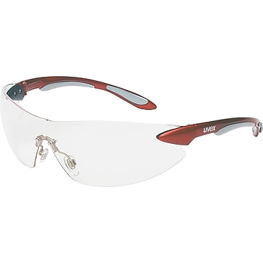 Uvex Ignite Safety Glasses, Clear Hardcoat Lens, Metallic Red and Silver Frame