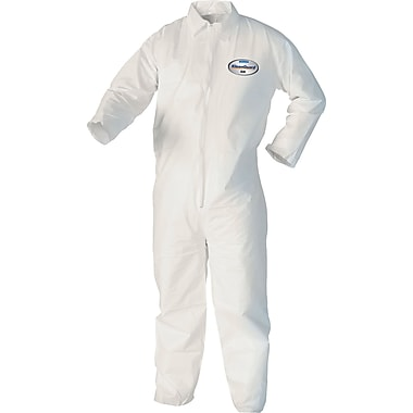 KleenGuard Coveralls, A40 Liquid & Particle Protection Apparel, Size L, White (Case of 25)