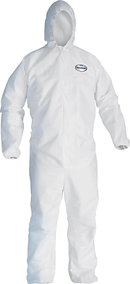 KleenGuard A40 Liquid Apparel Coveralls, Hooded, White, Large, 25/Carton
