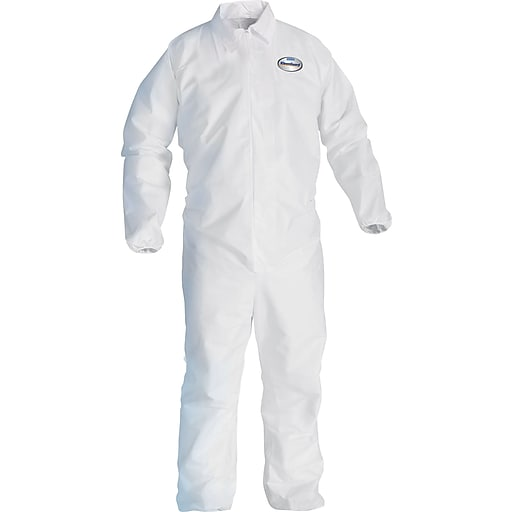 KleenGuard A20 Breathable Coveralls, White, 3-Extra Large, Front Zipper, 20/Carton