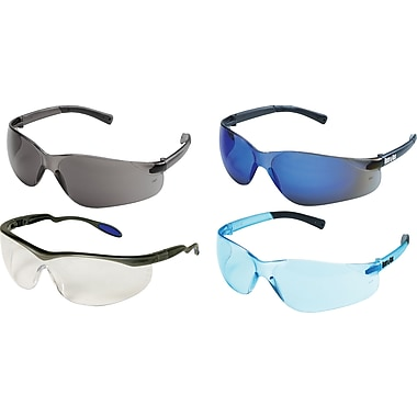 Dentec Columbia Slate Frame Safety Glasses with Ratchet Temples, Blue Mirror Lens