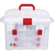 "ArtBin Bakers Cupboard Decorating Supply Cabinet, Translucent/Red Latch,  9.25"" x 17.5"" x 12.75"""