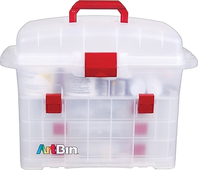 ArtBin Bakers Cupboard Decorating Supply Cabinet, Translucent/Red Latch, 9.25