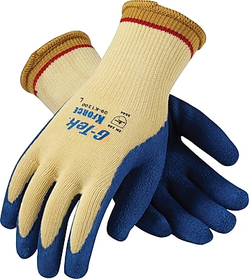 G-Tek K-Force Seamless Knit Cut Resistant Work Gloves, Latex With Kevlar, Extra-Large, Yellow & Blue, 1 Pair