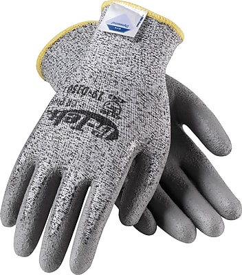 G-Tek CR Plus Cut Resistant Work Gloves, Dyneema With Nylon & Lycra Blend & Polyurethane Coating, Small, Gray, 1 Pair