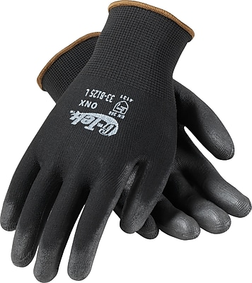 G-Tek ONX Seamless Knit Work Gloves, Nylon With Polyurethane Coating, Small, Black, 12 Pairs