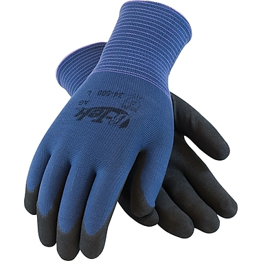 G-Tek ActivGrip Seamless Knit Work Gloves, Nylon With Nitrile MicroFinish Coating, Extra-Large, Blue & Black, 12 Pairs
