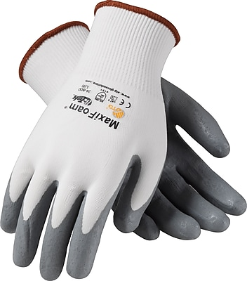 G-Tek MaxiFoam Seamless Work Gloves, Nylon Liner With Nitrile Foam Coating, Extra-Large, White & Black, 12 Pairs