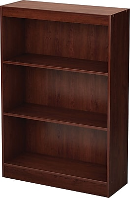 South Shore Work ID 3-Shelf Wood Bookcase, Royal Cherry