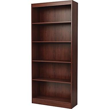 South Shore Work ID 5-Shelf Wood Bookcase, Royal Cherry