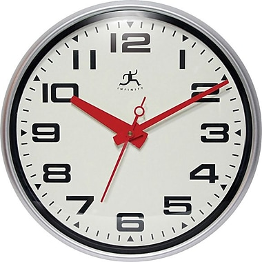 Infinity Instruments Lexington Ave Round, Wall Clock w/ Red Hands and Second Hand