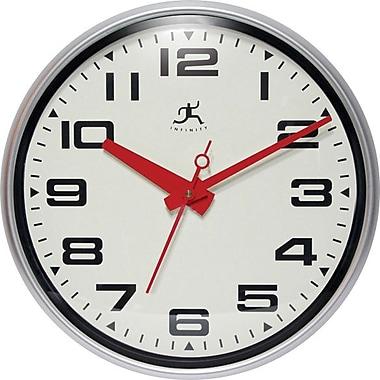 Infinity Instruments – Horloge murale Lexington Ave ronde, aiguilles rouges et aiguille des secondes (14097SV-3282)
