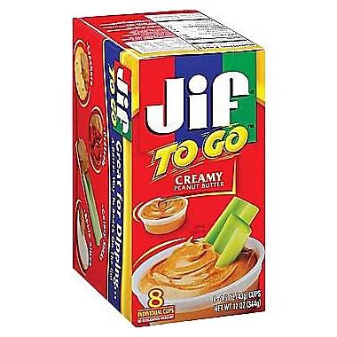 Jif® To Go™ Creamy Peanut Butter, 1.5 oz. Cups, 8 Cups/Box