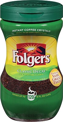 Folgers® Classic Roast® Instant Decaf Coffee, 8 oz. Jar
