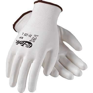 G-Tek NP Seamless Knit Work Gloves, Nylon With Polyurethane Coating, Medium, White, 12 Pairs