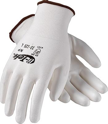 G-Tek NP Seamless Knit Work Gloves, Nylon With Polyurethane Coating, Small, White, 12 Pairs