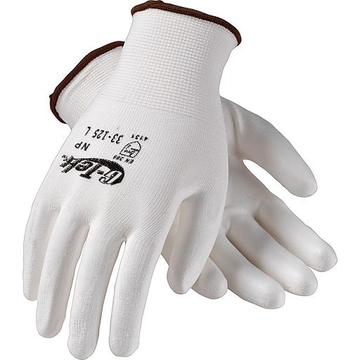G-Tek® Coated Work Gloves, NP Seamless Nylon Knit With Polyurethane Coating, Large, White, 12/Pr
