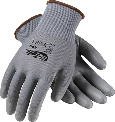 G-Tek® NPG Seamless Knit Work Gloves, Nylon With Polyurethane Coating, Extra-Large, Gray, 12 Pairs