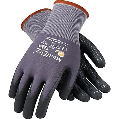 G-Tek MaxiFlex Endurance Seamless Knit Work Gloves, Nylon Liner With Micro-Foam Nitrile Coating, S, Dark Gray & Black