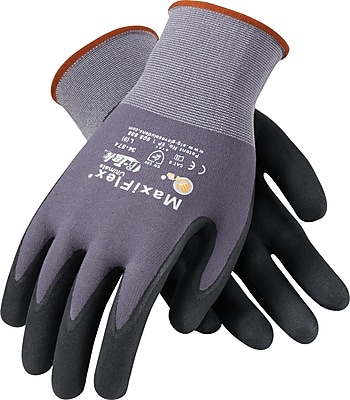 G-Tek MaxiFlex Ultimate Seamless Knit Work Gloves, Nylon Liner, XS, Dark Gray & Black