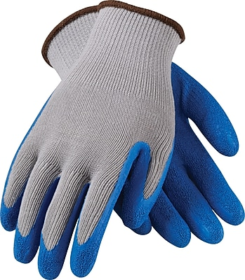 G-Tek CL Seamless Knit Work Gloves, Cotton/Polyester With Latex Coating, Extra-Large, Gray & Blue, 12 Pairs