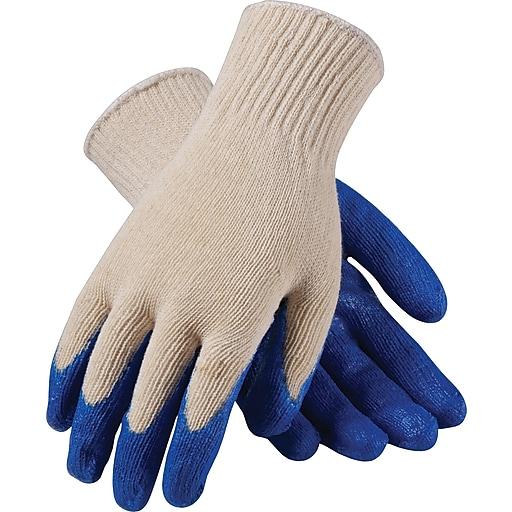 PIP Seamless Knit Work Gloves, Cotton/Polyester Latex Coating, XL, White & Blue, Dozen
