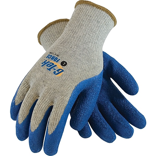 G-Tek Force Seamless Knit Work Gloves, Cotton/Polyester With Latex Coating, Large, Gray & Blue, 12 Pairs