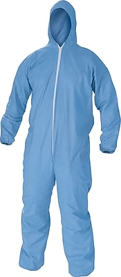 KleenGuard® A65 Hooded Zipper Front Coverall With Elastic Wrists/Ankles, Flame Retardant, Light Blue, 2XL, 25/Ct