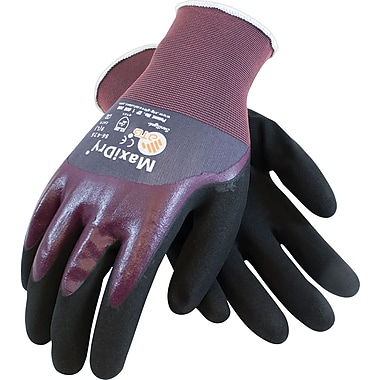 G-Tek MaxiDry Seamless Knit Work Gloves, Nylon With Foam Nitrile Coating, Purple & Black, 1 Pair
