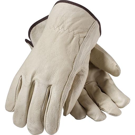 PIP Driver's Gloves, Top Grain Pigskin, Medium, Cream Color, 1/Pr