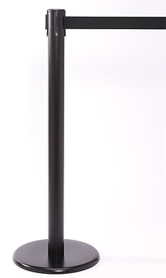 QPro 250 Black Stanchion Barrier Post with Retractable 11' Black Belt