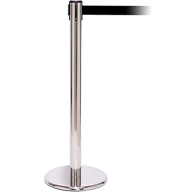 QPro 250 Polished Stainless Steel Stanchion Barrier Post with Retractable 11' Black Belt