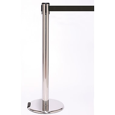 RollerPro 250 Stainless Steel Rolling Stanchion Barrier Post with Retractable 11' Black Belt