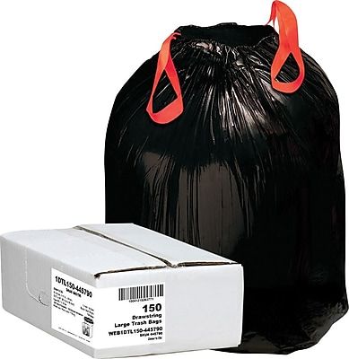 Webster 1DT150 Black Draw 'N Tie® Drawstring Trash Bags, 33 Gallon, 150 Bags/Box