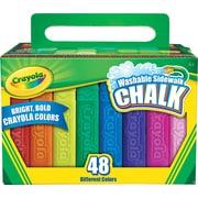 Crayola Washable Sidewalk Chalk, Assorted Bright Colors, 48/Pack (512048)