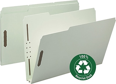 "Smead 100% Recycled Pressboard Fastener File Folder, 1/3-Cut Tab, 2"" Expansion, Legal Size, Gray/Green (20004)"
