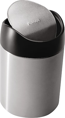 simplehuman® Countertop Trash Can, Fingerprint-Proof Stainless Steel, .4 Gallon